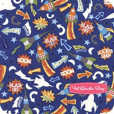 Nursery Fabric: Fatquartershop.com - Outer Space by Vita Mechachonis for Camelot Cottons (glows in the dark) - Multi Rocket Ships SKU# 1140203-01 $10.75 Outer Space Nursery, Nursery Fabric, Fat Quarter Shop, Quilt Patterns, Rocket Ships, Kids Rugs, Kit, Quilts, Dark
