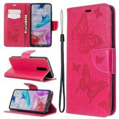 Embossing Double Butterfly Leather Wallet Case for Mi Xiaomi Redmi 8 - Red - Xiaomi Redmi 8 Cases - Guuds Iphone 8 Plus, Iphone 11, Apple Iphone, Nokia 1, Butterfly Pattern, A30, Card Patterns, Easy Install, Retail Packaging