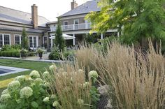 ornamental grasses porch | Found on thinkingoutsidetheboxwood.blogspot.com