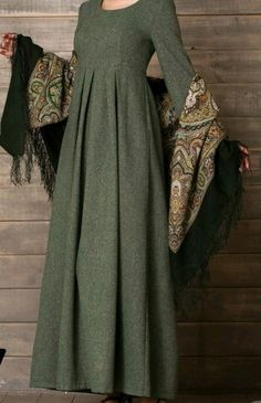 Material: Polyester Silhouette: A-Line Dress Length: Floor-Length Sleeve Length: Long Sleeve Neckline: Round Neck Combination. Modest Clothing, Modest Dresses, Modest Outfits, Simple Dresses, Cute Dresses, Dress Outfits, Casual Dresses, Islamic Fashion, Muslim Fashion