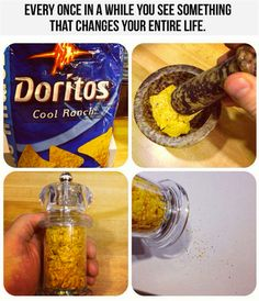 Hack Will Change Your Life crush up Cool Ranch Doritos, put them in a salt/pepper grinder.crush up Cool Ranch Doritos, put them in a salt/pepper grinder. Good Food, Yummy Food, Tasty, Awesome Food, Jai Faim, Cooking Tips, Cooking Recipes, Just In Case, Just For You