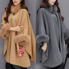 Women's Fur Collar Woollen Overcoat Cape Shawl Cloak Coat Outwear Cardigan Tops Modest Fashion, Hijab Fashion, Fashion Dresses, Steampunk Fashion, Gothic Fashion, Winter Coats Women, Coats For Women, Clothes For Women, Warm Outfits