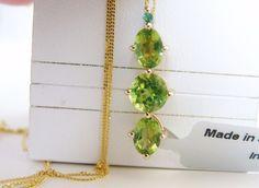 New Genuine Peridot Emerald 14K over Sterling Silver Pendant 585 Chain Necklace #Designer #Chain