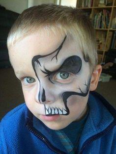 Vintage Halloween Makeup, Halloween Makeup For Kids, Kids Makeup, Halloween Makeup Looks, Face Painting For Boys, Face Painting Designs, Body Painting, Skeleton Face Paint, Skull Face Paint