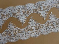 Alencon Style Floral Scalloped Lace Trim in IVORY by lacelindsay