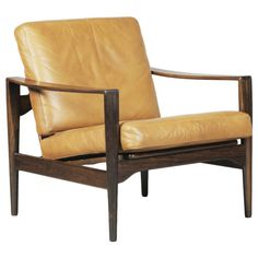 Solid Rosewood and Leather Lounge Chair by Kai Kristiansen, mid to late 60's
