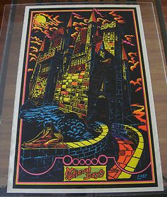 Vintage velvet flocked black light poster