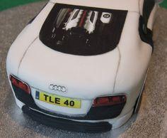 Personalised White Audi R8 40th Birthday Cake