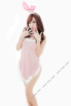 Cloth Ear Collar Sexy Pink Bunny Girl Cosplay Uniform Sleepwear Lingerie Set