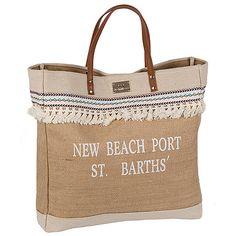 Achilleas Accessories - Προϊόντα : NEW IN! / Τσάντες / Τσάντες θαλάσσης / Τσάντα θαλάσσης ψάθινη ''New Beach Port St. Barths ''