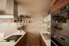 /A Contemporary stone and wallnut