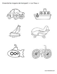 """Encercle les moyens de transport """"sur l'eau"""" - Activité à imprimer"""