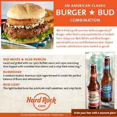 "This summer @HRCNiagaraUSA enjoy ""An American Classic"" a Red, White & Blue Burger & Bud #pairing #ThisIsHardRock"