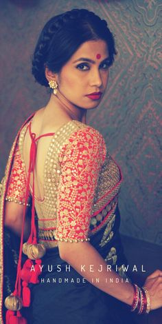 Love this vintage Indian woman look. Milkmaid braid hairstyle completes the pretty saree and blouse look. #RedLips #bindi