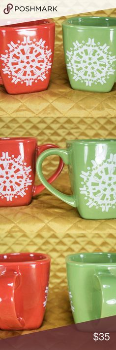 """Starbucks Coffee Square Snowflake Mugs Green & Red This is a new set of 2 Starbucks 2004 winter Snowflake ceramic square mugs in red & green. They both are about 4"""" tall. *If you appreciate old school quality - you're in the right place. We don't just sell products, we put time & work into them. We ship fast, usually within 1 business day! Enjoy! Starbucks Other"""