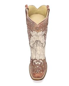 Womens Sand/Cognac Laser Overlay Square Toe Boot - A2870,