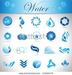 Water And Drop Icons Set - Isolated On Gray Background - Vector Illustration, Graphic Design Editable For Your Design. Blue Water Logo by Milos Dizajn, via Shutterstock
