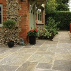 Pavestone Paving-Riven Sandstone-Old Black-PAVING SLABS, MIXED SIZE (20.7m2)