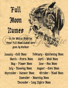 Full Moons & Their Names, Book of Shadows Spell Page, Wicca, Witchcraft, Pagan - Witch - Combins Magick Spells, Wiccan Witch, Wicca Witchcraft, Witch Spells Real, Wiccan Books, Wiccan Art, Full Moon Names, Symbole Viking, Full Moon Ritual