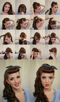 1950s Hairstyles For Long Hair, Vintage Hairstyles Tutorial, Fringe Hairstyles, Retro Hairstyles, 2014 Hairstyles, Simple Hairstyles, Beautiful Hairstyles, Vintage Hair Tutorials, Rockabilly Hair Tutorials