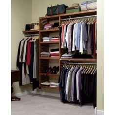 John Louis Home Deluxe Deep Closet Shelving System, Red Mahogany Closet Shelves, Closet Storage, Closet Organization, Organizing, Wood Closet Organizers, Deep Closet, Wooden Closet, Room Closet, Master Closet