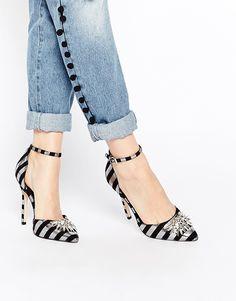 Image 1 ofASOS NIGHT PITCH BLACK Pointed High Heels