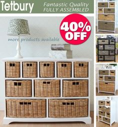 TETBURY-Storage-Unit-Large-chest-of-drawers-storage-baskets-FULLY-ASSEMBLED