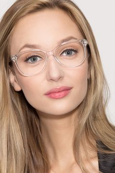 Hepburn Clear/White Acetate Eyeglasses from EyeBuyDirect. A fashionable frame with great quality and an affordable price. Come see to discover your style. White Frame Glasses, Cheap Glasses Frames, Fake Glasses, Clear Glasses Frames Women, Cheap Eyeglasses, Eyeglasses For Women, Sunglasses Women, Glasses For Round Faces, Lunette Style