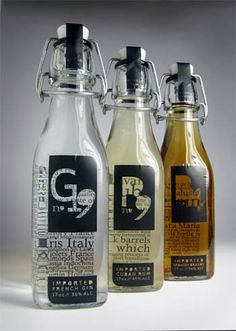 Packaging design by Eric. Right up your alley Laura L. Glass Packaging, Cool Packaging, Bottle Packaging, Brand Packaging, Product Packaging, Packaging Ideas, Bottle Design, Glass Design, Label Design