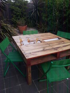 Pallet table sealed with clear resin. Cooler and/or herb trough
