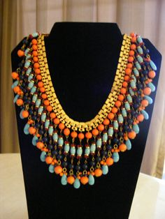 Vintage Miriam Haskell Egyptian Revival Molded Glass Bib Bookchain Necklace   eBay