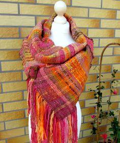Large hand woven wool Saori scarf made of handspun art yarn.Woven wrap. Large woven scarf.Multicolored womens scarf.Saori scarf.