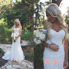 Simple Elegant Sweetheart Strapless Lace Mermaid Country Wedding Party Wedding Dresses The wedding dresses are fully lined, 4 bones in the bodice, chest pad in the bust, lace up back or zipper back ar Western Wedding Dresses, Boho Wedding Dress, Wedding Party Dresses, Wedding Dress Styles, Bridal Dresses, Party Wedding, Wedding Ideas, Trendy Wedding, Wedding Pictures