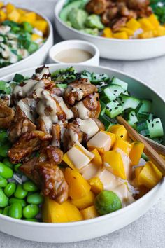 #pokebowl Wine Recipes, Asian Recipes, Low Carb Recipes, Healthy Recipes, I Love Food, Good Food, Yummy Food, Mango, Dressing