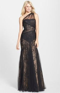 Free shipping and returns on ML Monique Lhuillier One-Shoulder Tulle & Lace Mermaid Gown at Nordstrom.com. Crisscrossing pleats of gauzy lace help sculpt the curve-celebrating mermaid silhouette of this memorable evening gown. Flecks of metallic embroidery and light-capturing sequins give an added boost to the ethereal look.