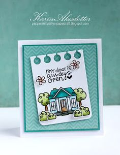 My Door is Always Open card by Karin Åkesdotter - Paper Smooches - Spiffy Scooters and Bitty Bungalows stamp sets, Notebook Basic dies
