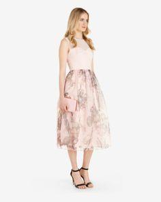 Torchlit Floral ballerina dress , Baby Pink