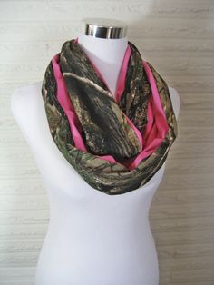 Long Realtree Camo and solid Pink colorblock Scarf by ChevronScarf