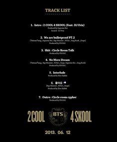 "New the group ""Bangtan Boys"" (BTS) revealed track list for their album '2COOL 4SKOOL'!!"