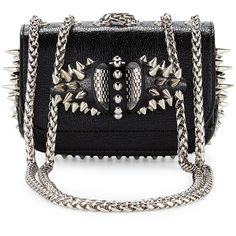 Christian Louboutin Sweety Charity Spikes Crossbody Bag ($1,530) ❤ liked on Polyvore featuring bags, handbags, shoulder bags, black, bow handbag, christian louboutin, bow crossbody purse, chain shoulder bag and chain purse