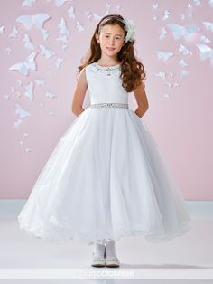 b83bf2a1d31 Sleeveless Sparkle Tulle First Communion Flower Girl Dress- 117344
