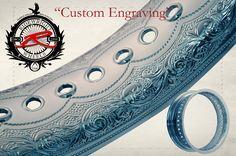 On black powder coated rims Harley Davidson Iron 883, Harley Davidson Bikes, Bagger Motorcycle, Retro Motorcycle, Motorcycle Style, Metal Engraving, Custom Engraving, Custom Motorcycles, Custom Bikes