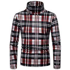 1c5f1bf5798942 Pull homme chaud à manches longues Pull dhiver à col roulé pour hommes T- shirt à manches longues Top Blouse Casual Slim Fit Sweat à carreaux épais  couche ...