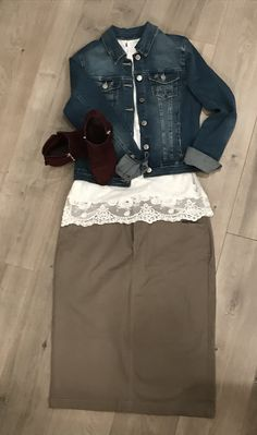"""Simple way to style our tan """"Emma"""" skirt! So many fun things to do with this classic fall skirt! Denim Skirts, Fall Skirts, Denim Button Up, Button Up Shirts, Athletic Skirts, Sports Skirts, Modest Outfits, Simple Way, Fun Things"""
