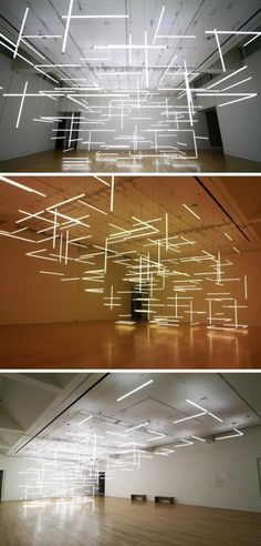Fluorescent tube art installation at Frye Art Museum, Seattle, by Lilienthal and Zamora