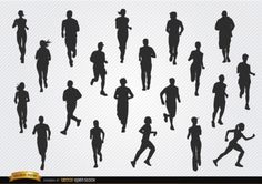 People jogging silhouettes, Vector by Vector Open Stock License: Attribution ID: People Running, Silhouette S, Sports Figures, Vector Free Download, Sports Activities, Jogging, Character, Image, Web Banner