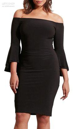 Lauren Ralph Lauren Off the Shoulder Jersey Sheath Dress (Plus Size)