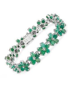 Emerald Bracelet Designed In 925 Sterling Silver at Modnique.com