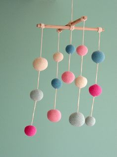 Baby Mobile - Pink/Mint Green Girls Room decoration - Crochet Pastel Hanging Mobile - Colorful Ball Mobile - Ready to ship. $50.00, via Etsy.