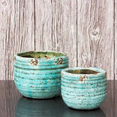 Set of 2 Turquoise Plant Pots - View All Home Accessories - Treat Your Home - Home Accessories